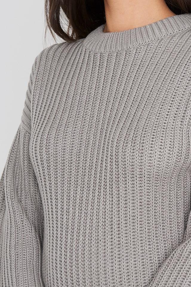 Balloon Sleeve Round Neck Sweater Grey