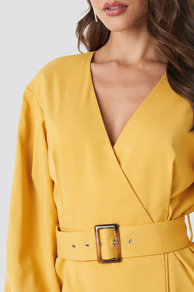Balloon Sleeve Belted Blazer Dress Yellow