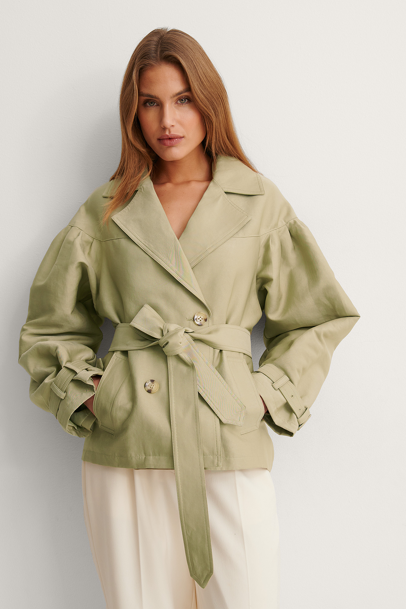 Green Balloon Sleeve Belted Short Coat