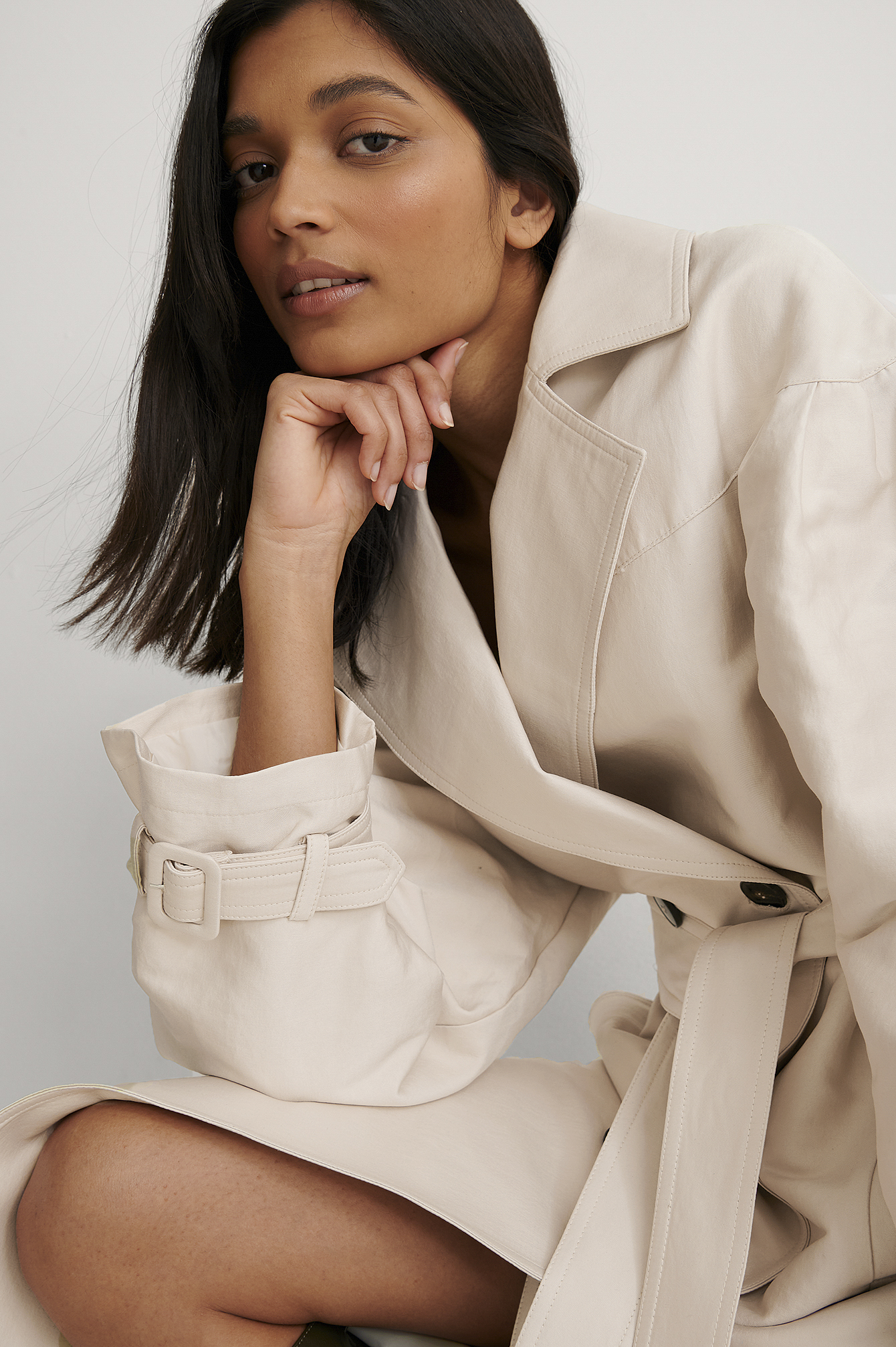 Light Beige Balloon Sleeve Belted Trench Coat