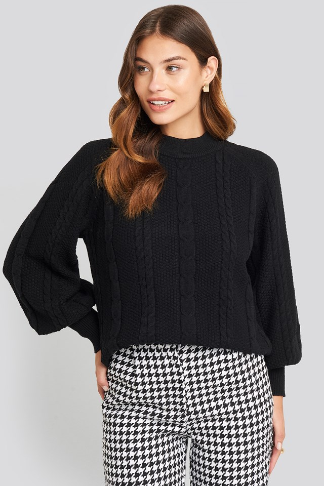 Balloon Sleeve Cable Knitted Sweater Black