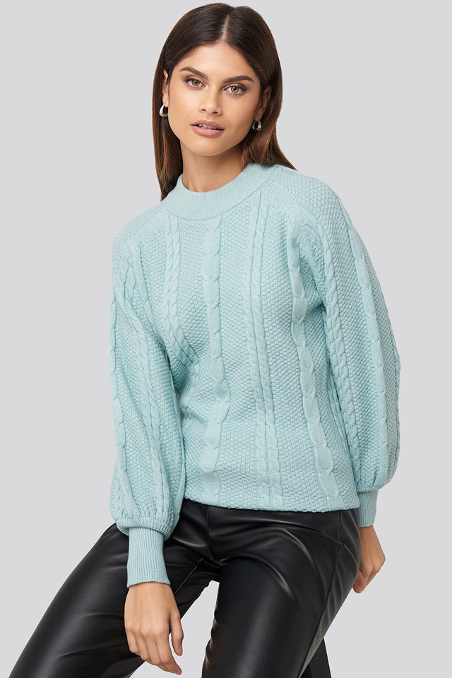 Balloon Sleeve Cable Knitted Sweater Blue