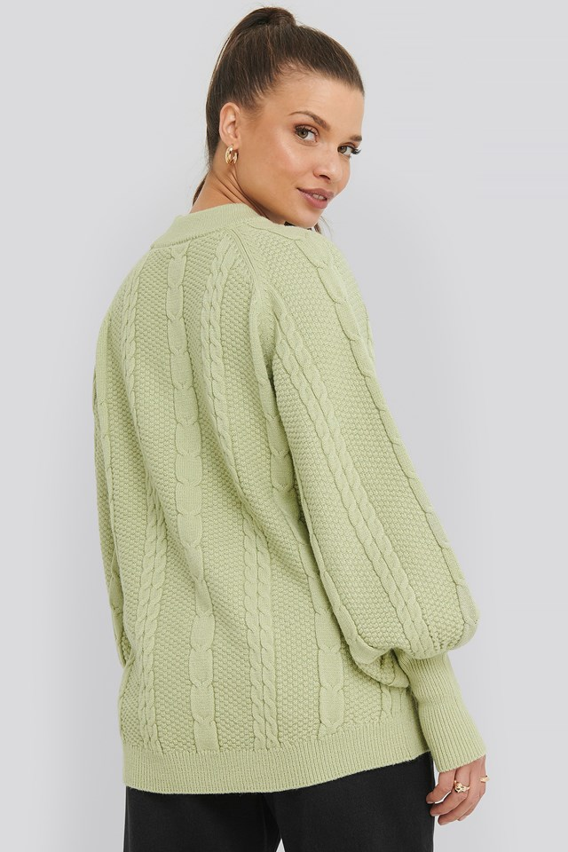 Balloon Sleeve Cable Knitted Sweater Green