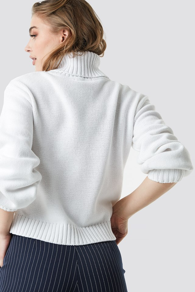 Balloon Sleeve High Neck Knitted Sweater Offwhite