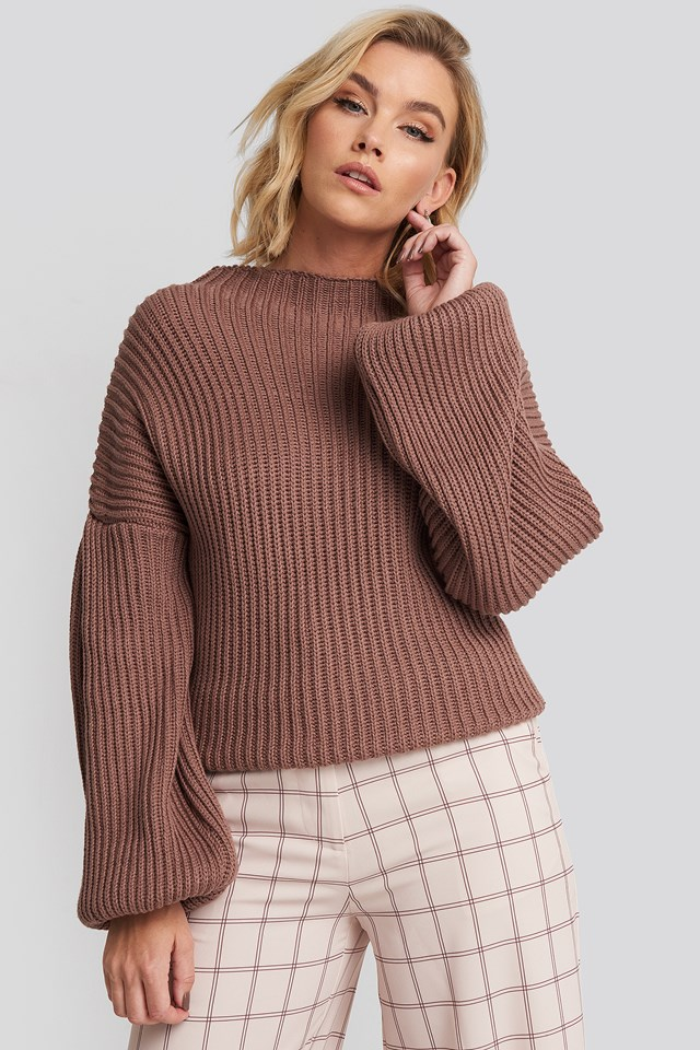 Balloon Sleeve Knitted Sweater Dusty Dark Pink