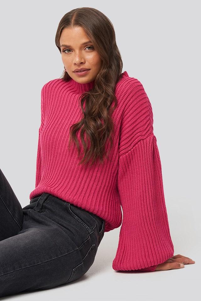 Balloon Sleeve Knitted Sweater Fuchsia