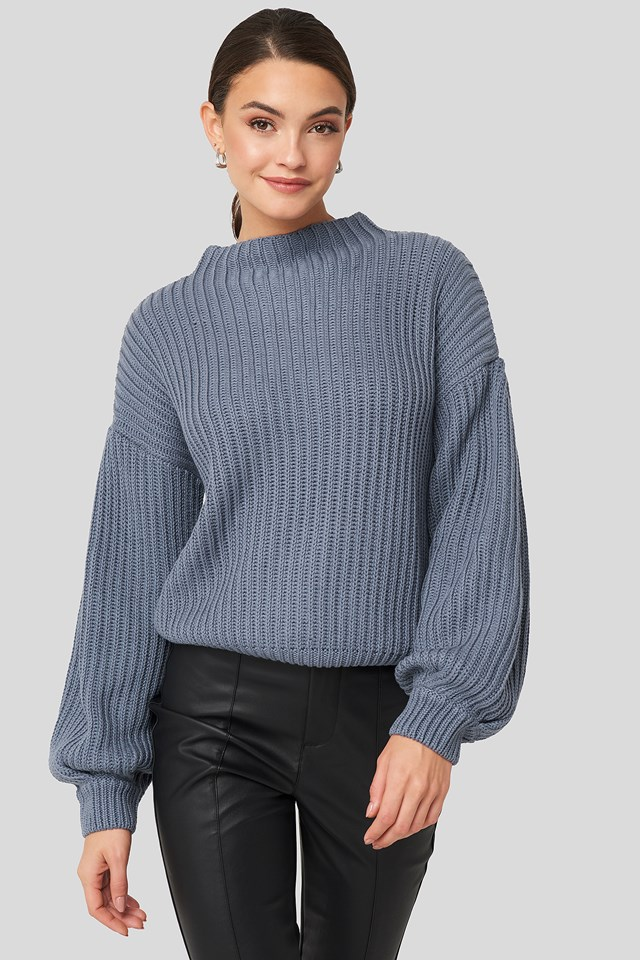 Balloon Sleeve Knitted Sweater Stone Blue