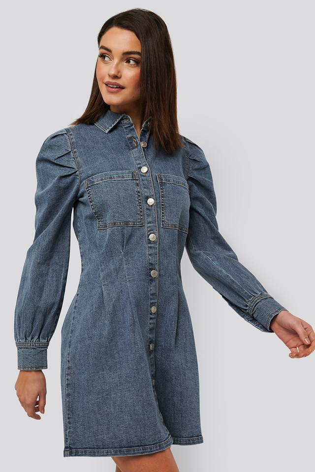 Balloon Sleeve Mini Denim Dress Mid Blue