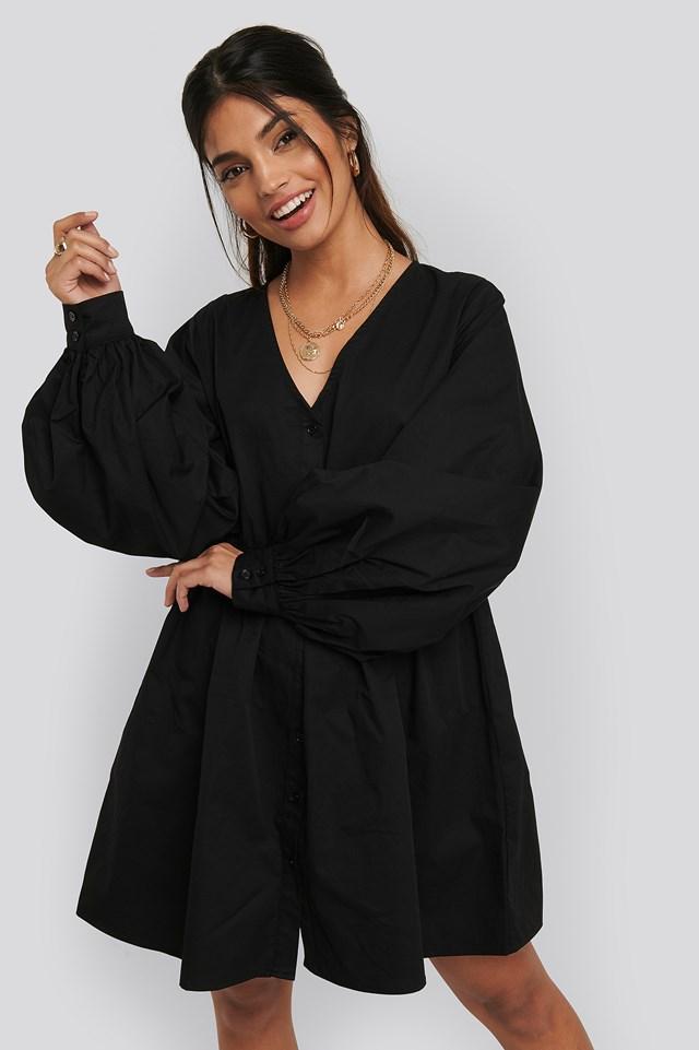 Balloon Sleeve Mini Shirt Dress Black