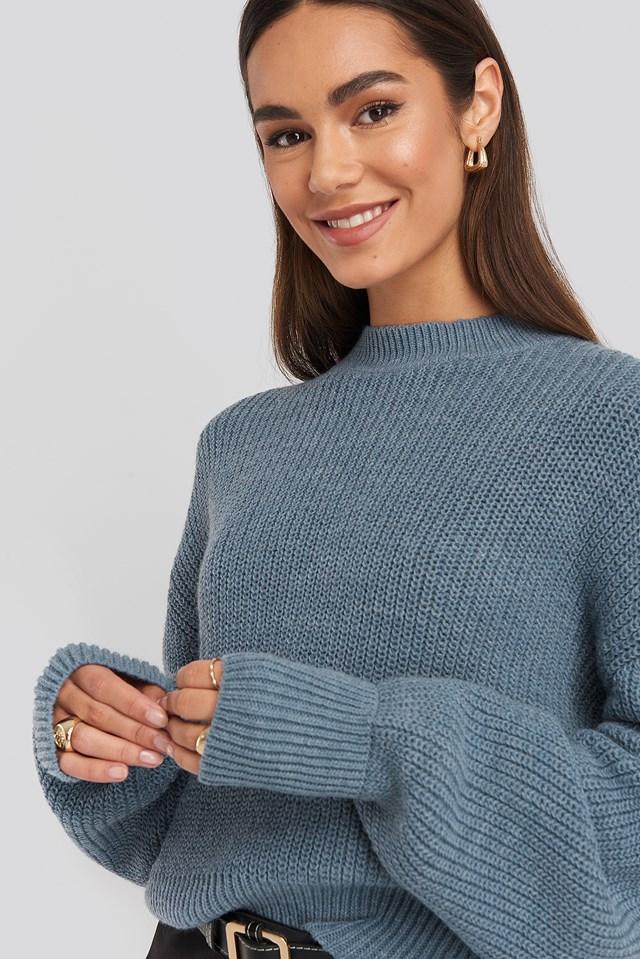 Balloon Sleeve Ribbed Sweater Dark Blue