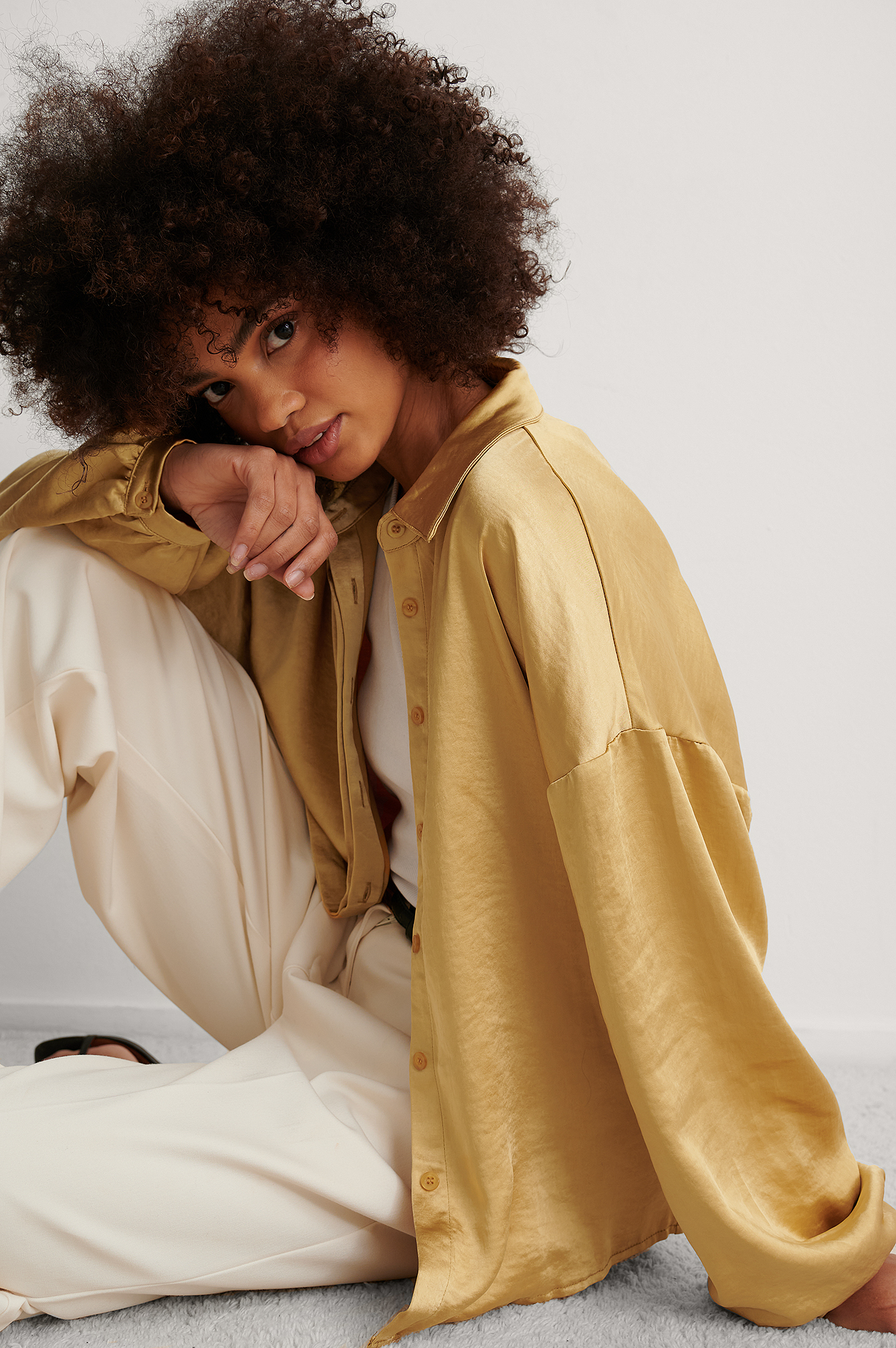 Gold Balloon Sleeve Satin Blouse
