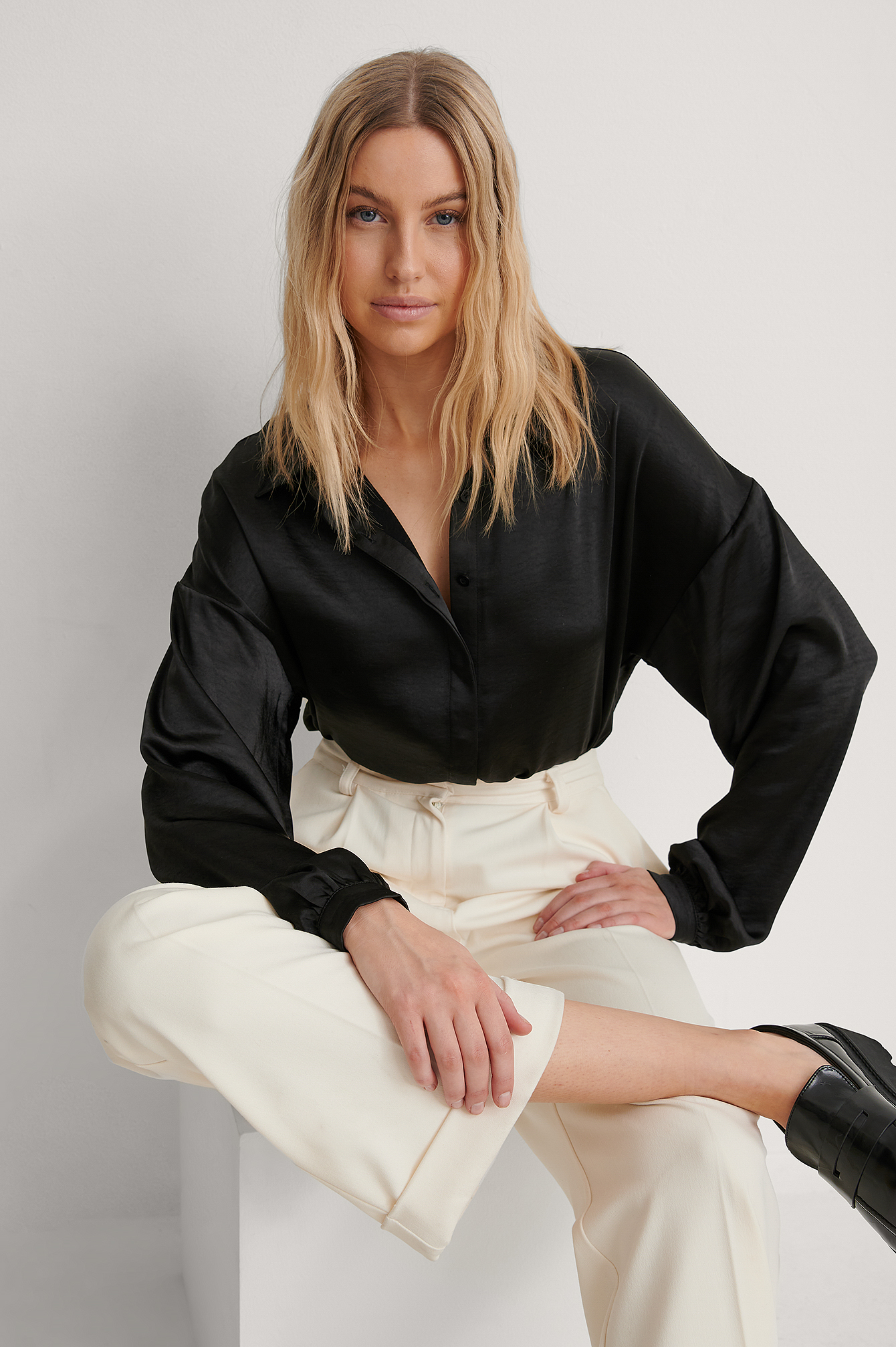 Black Balloon Sleeve Satin Blouse