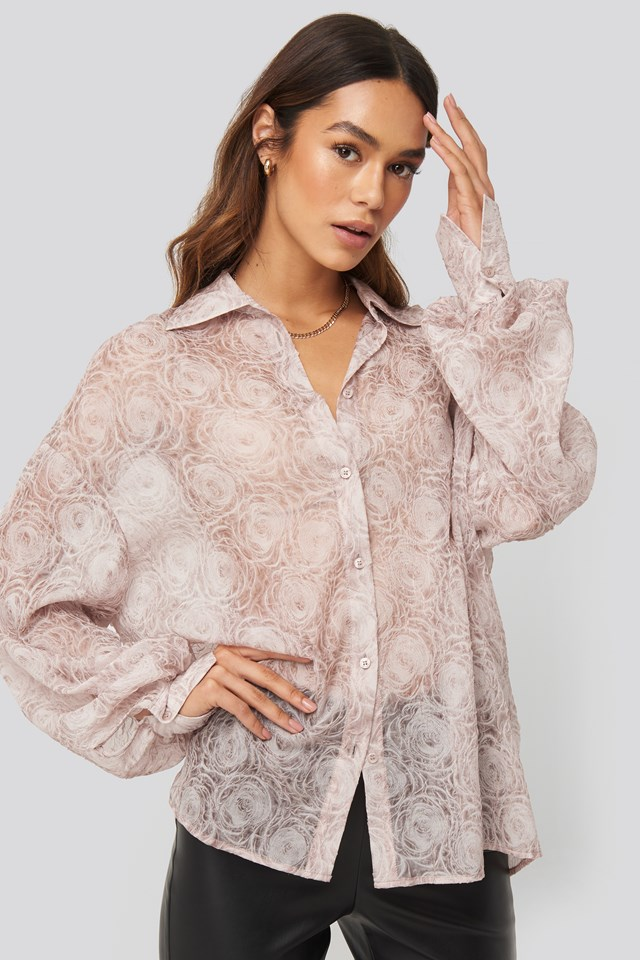 Balloon Sleeve Structured Rose Blouse Dusty Pink