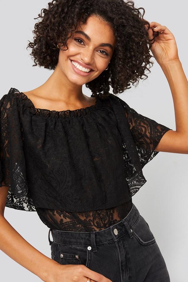 Bardot Lace Top Black