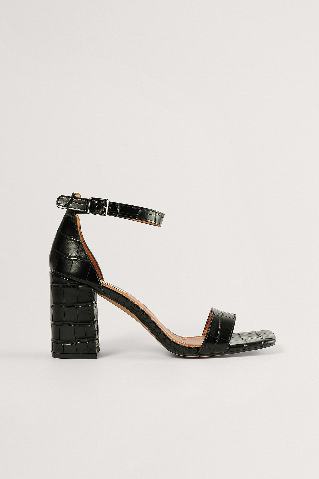 Black Basic Block Heel Sandals