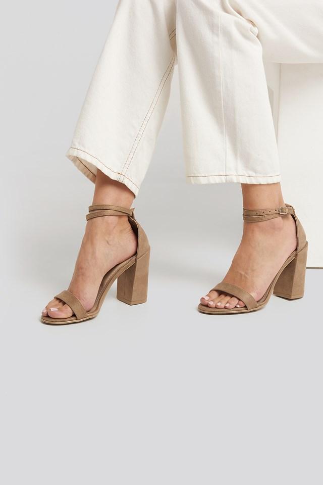 Basic Block Heels Beige