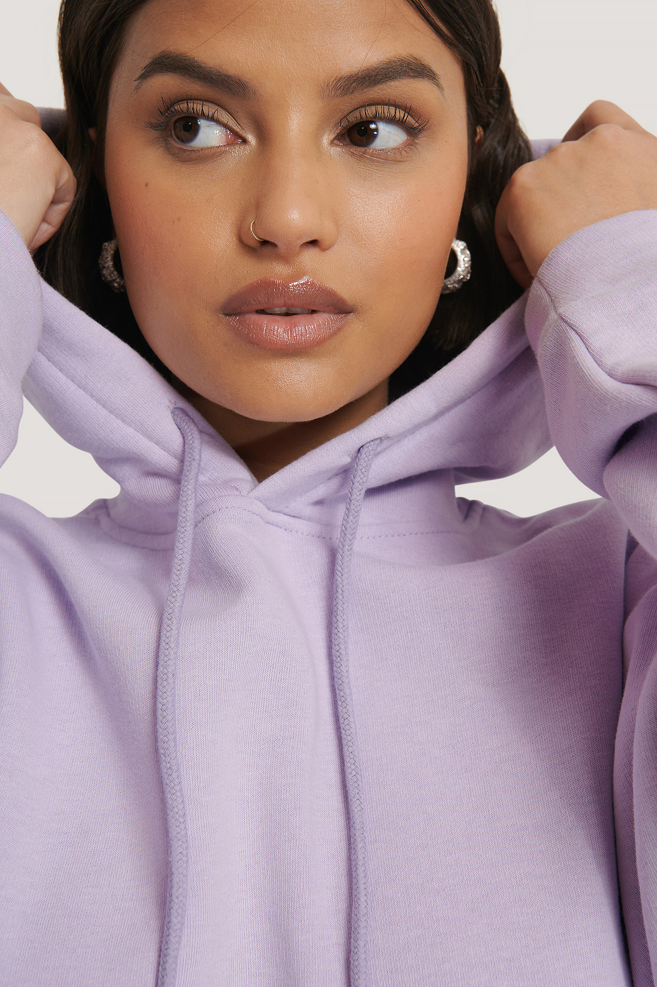 Light Purple Organic Basic Cropped Hoodie