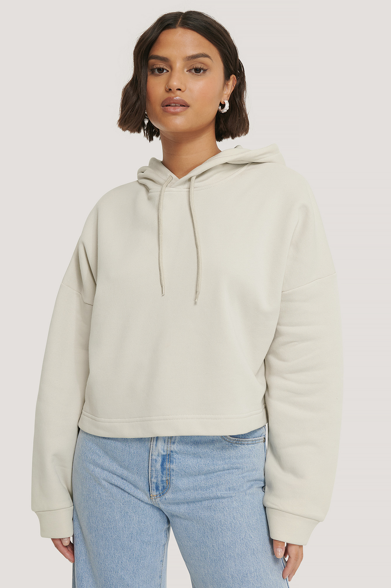 Dusty Light Beige Organic Basic Cropped Hoodie