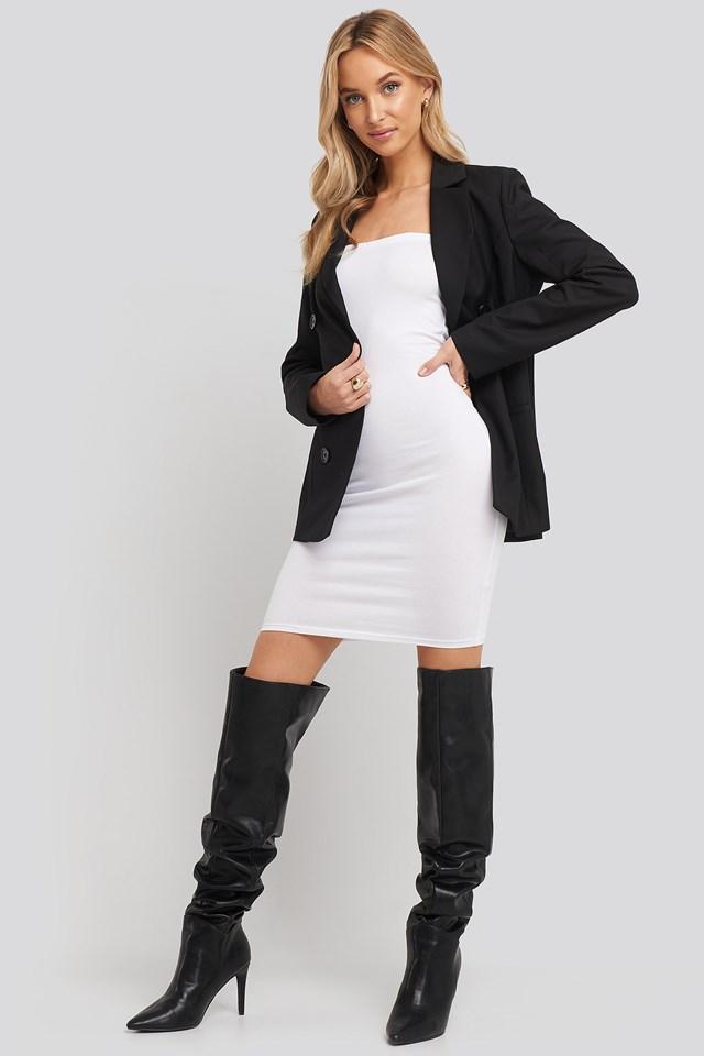 Basic Jersey Bandeau Dress White
