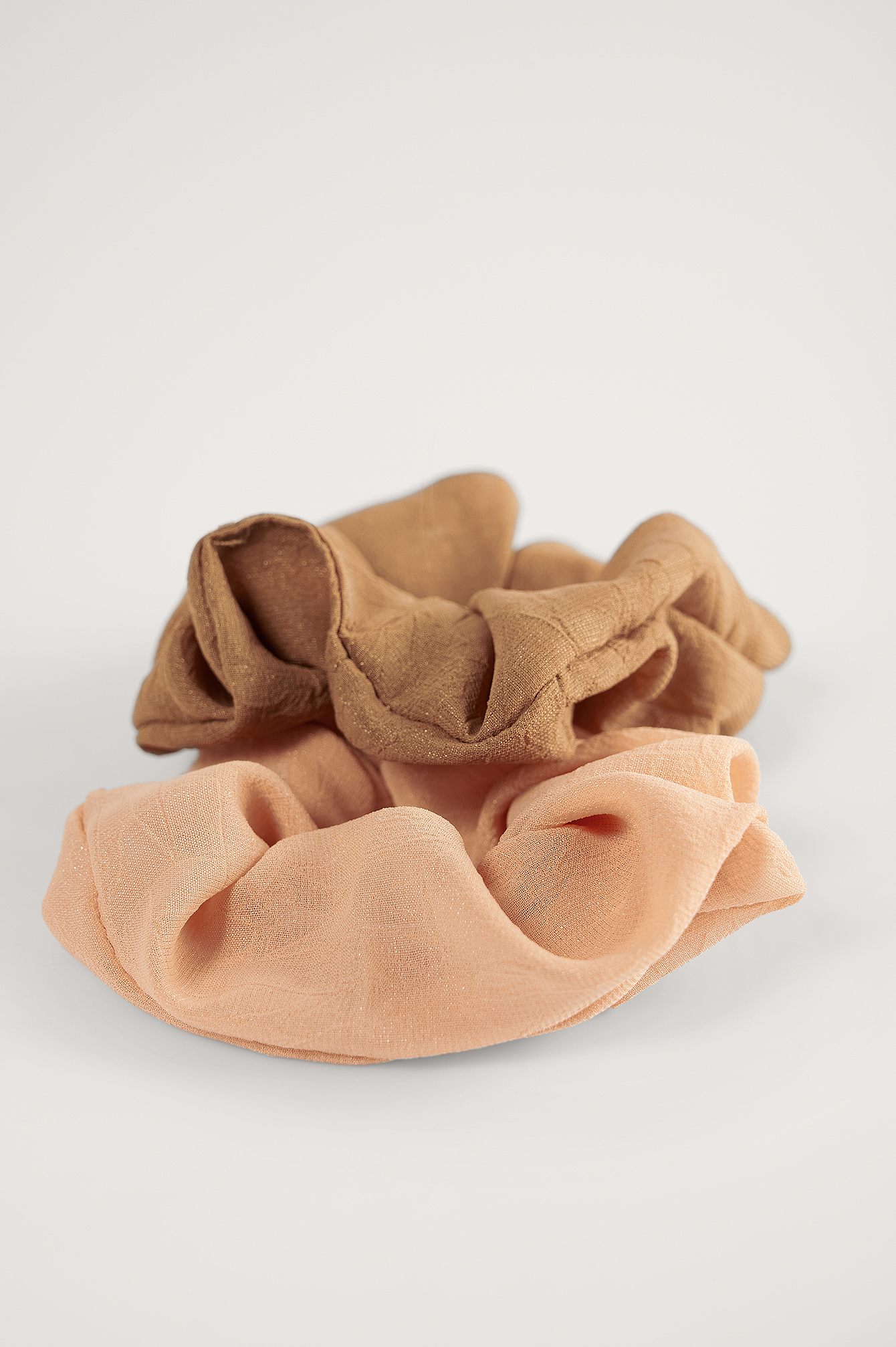 Brown/Beige Basic Woven Scrunchies (2-pack)