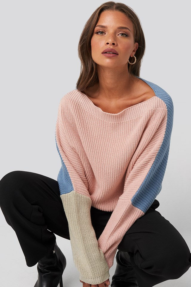 Batwing Cropped Ribbed Sweater NA-KD