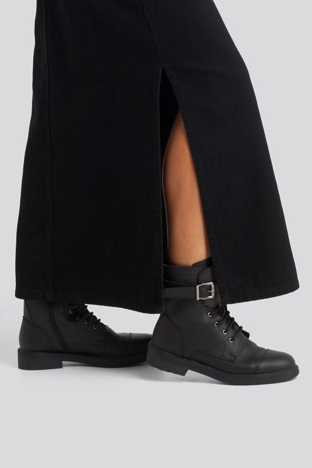 Buckled Combat Boot Black