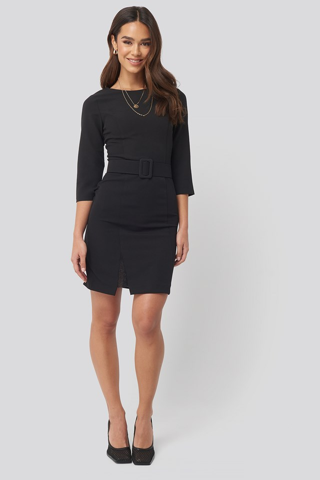 Belt Lace Detail Mini Dress Black