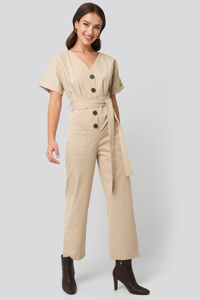Belted Button Up Jumpsuit Beige
