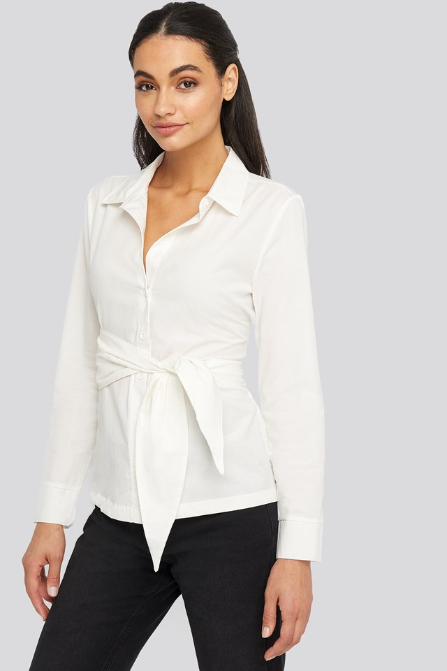 Belted Button Up Shirt Off White