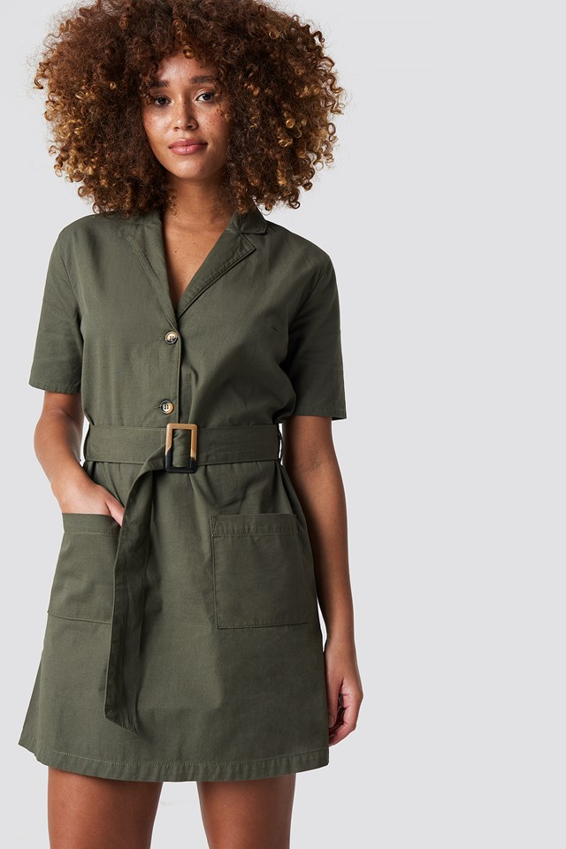 Belted Cargo Mini Dress Khaki