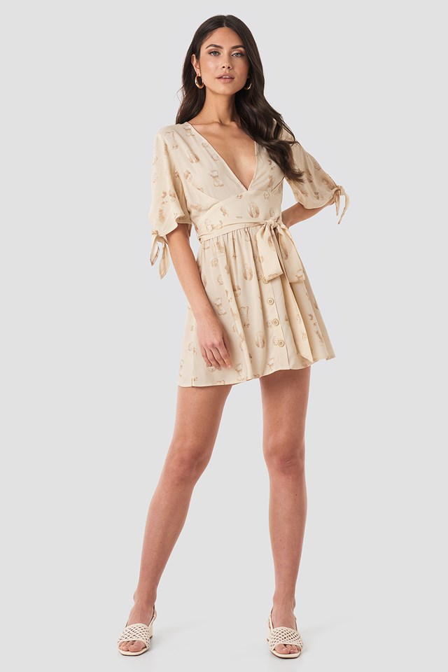 Belted Deep V Mini Dress Beige