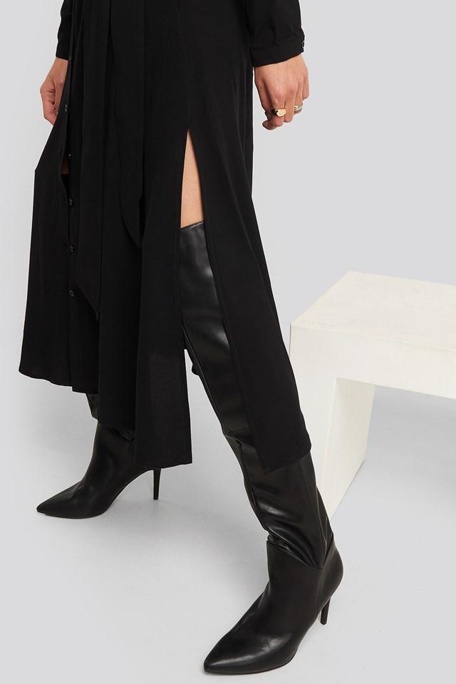 Belted Grandad Collar Shirt Dress Black