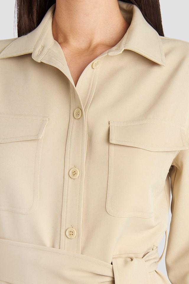 Belted Long Shirt Dress Sand