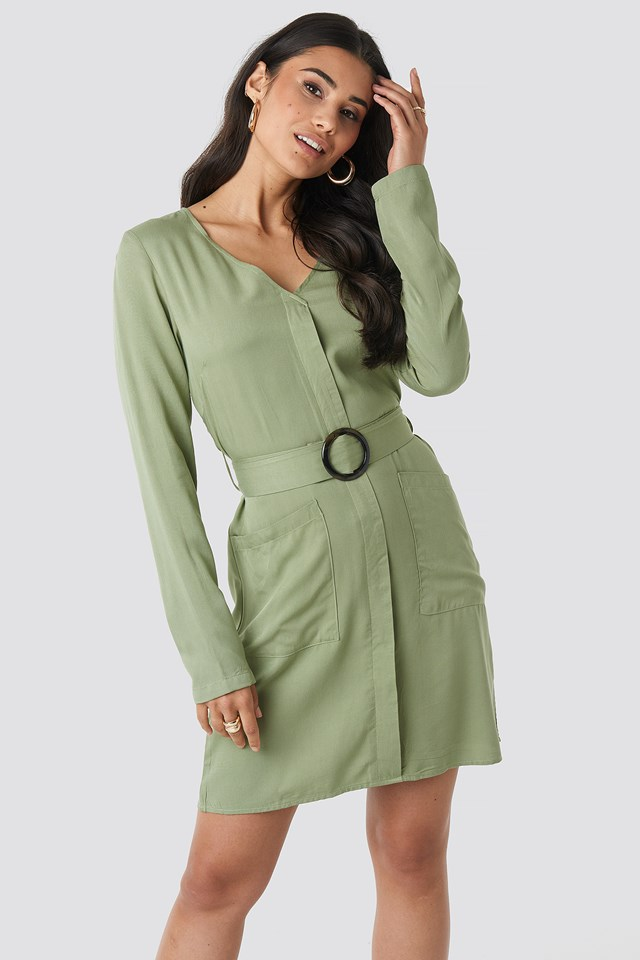 Belted Long Sleeve Dress Dusty Light Green