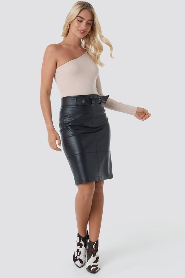 Belted Midi Skirt Black