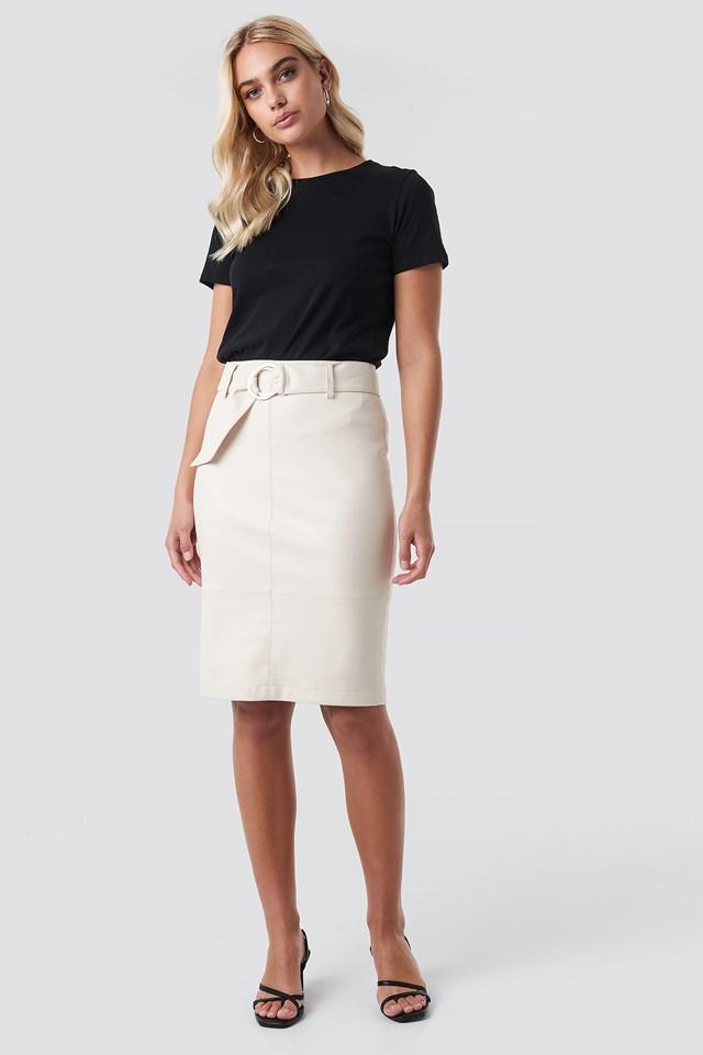 Belted Midi Skirt Offwhite