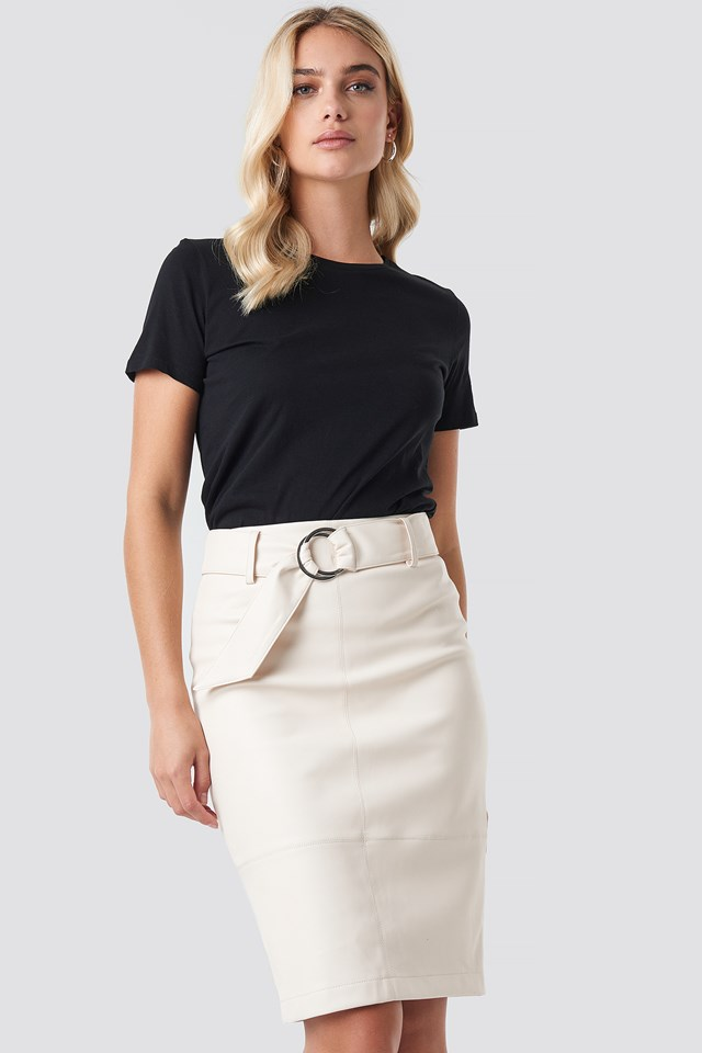 Belted Midi Skirt Offwhite