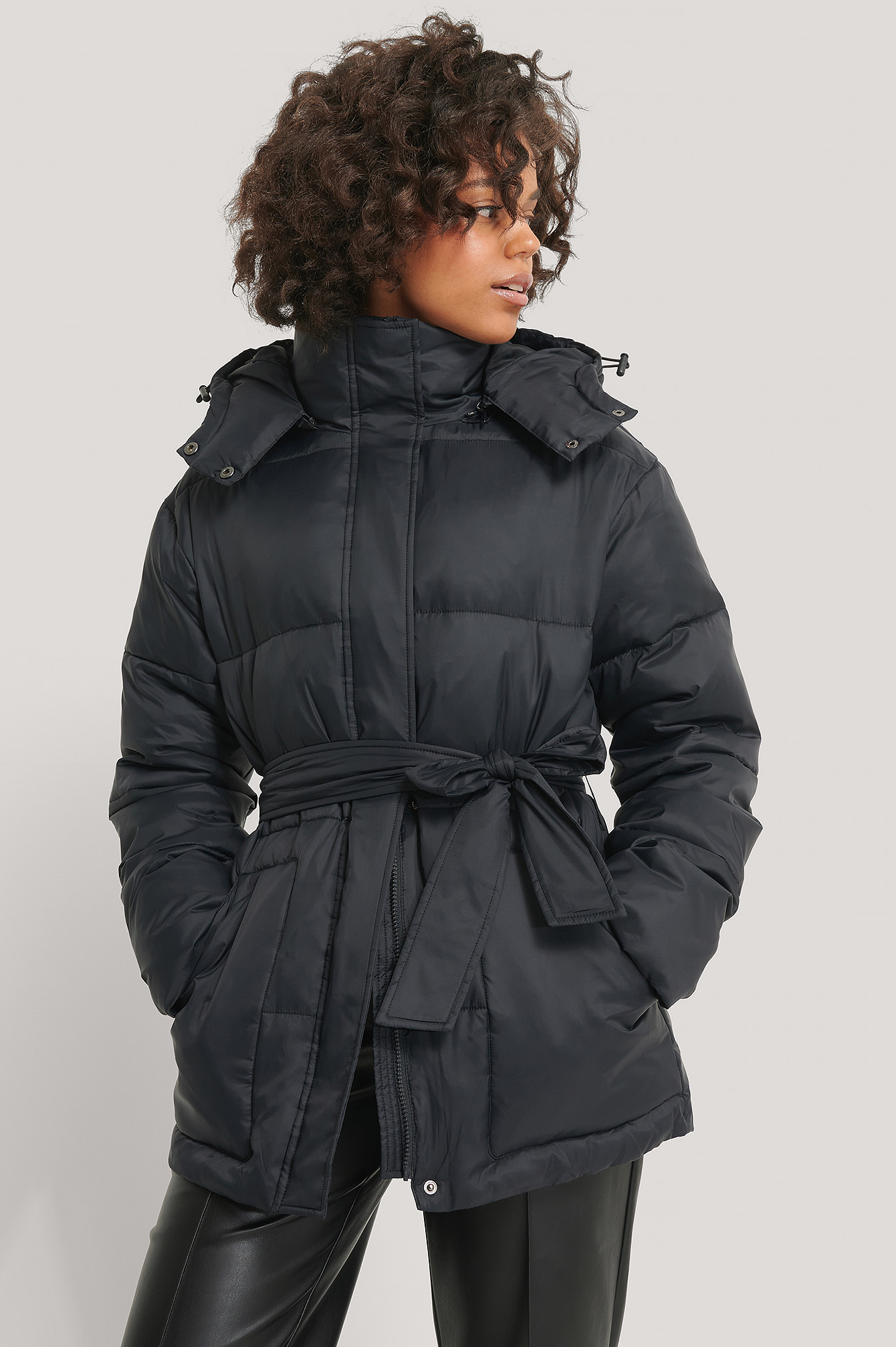 Black Belted Padded Jacket
