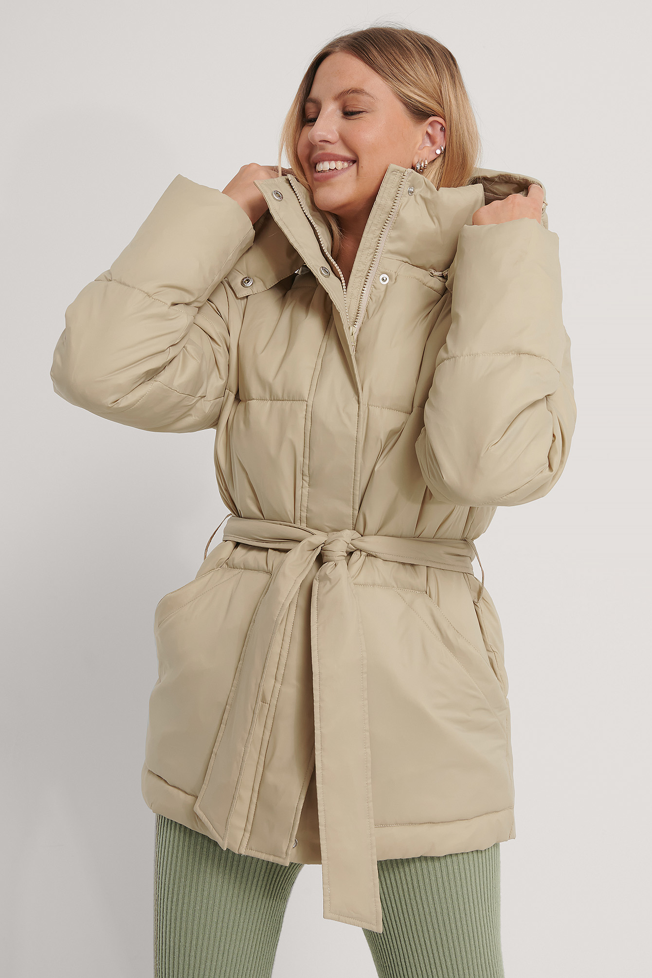 Light Beige Belted Padded Jacket