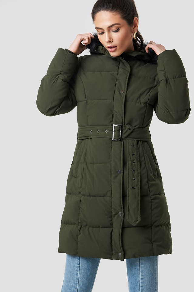 Belted Padded Parkas Green