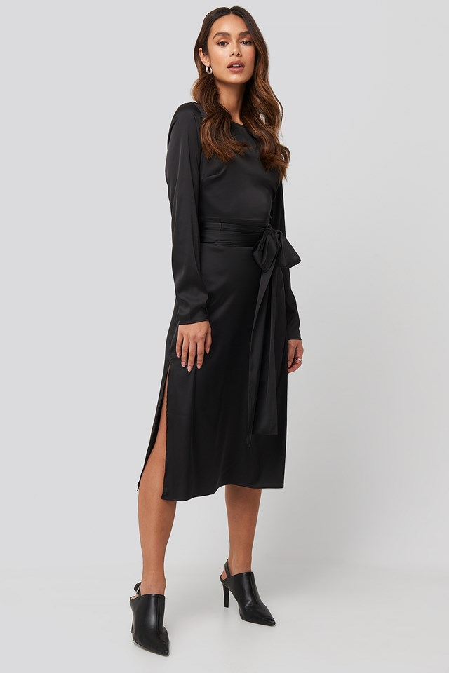Belted Satin Midi Dress NA-KD Trend