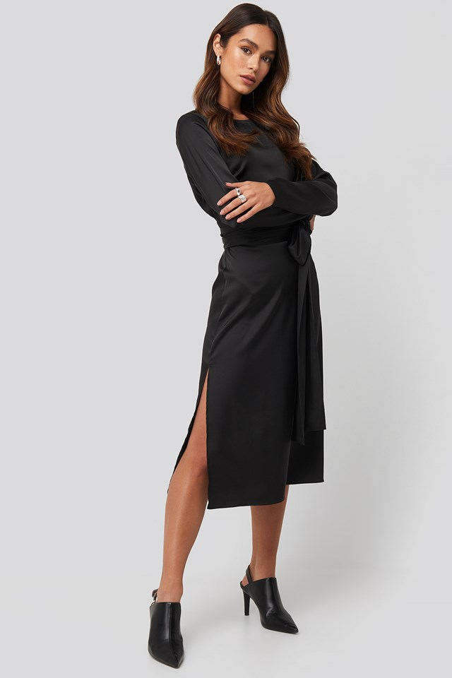 Belted Satin Midi Dress Black