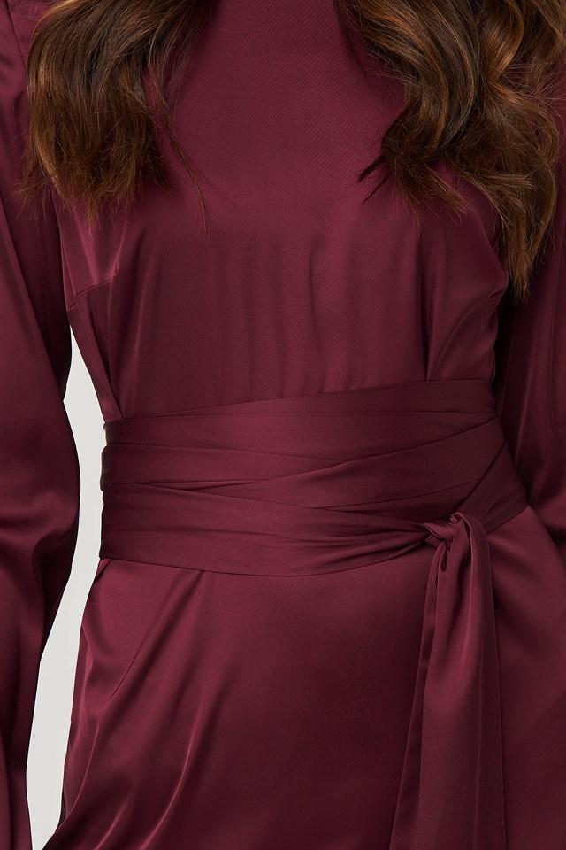 Belted Satin Midi Dress Burgundy