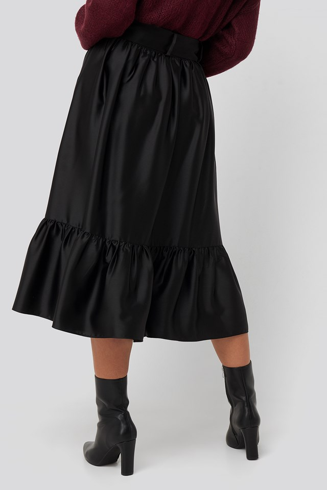 Belted Satin Skirt Black