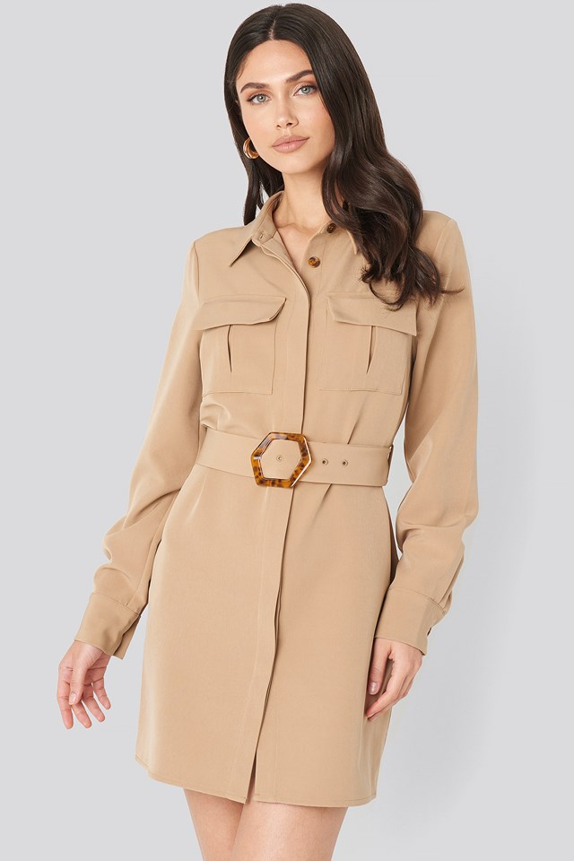 Belted Straight Fit Shirt Dress Beige