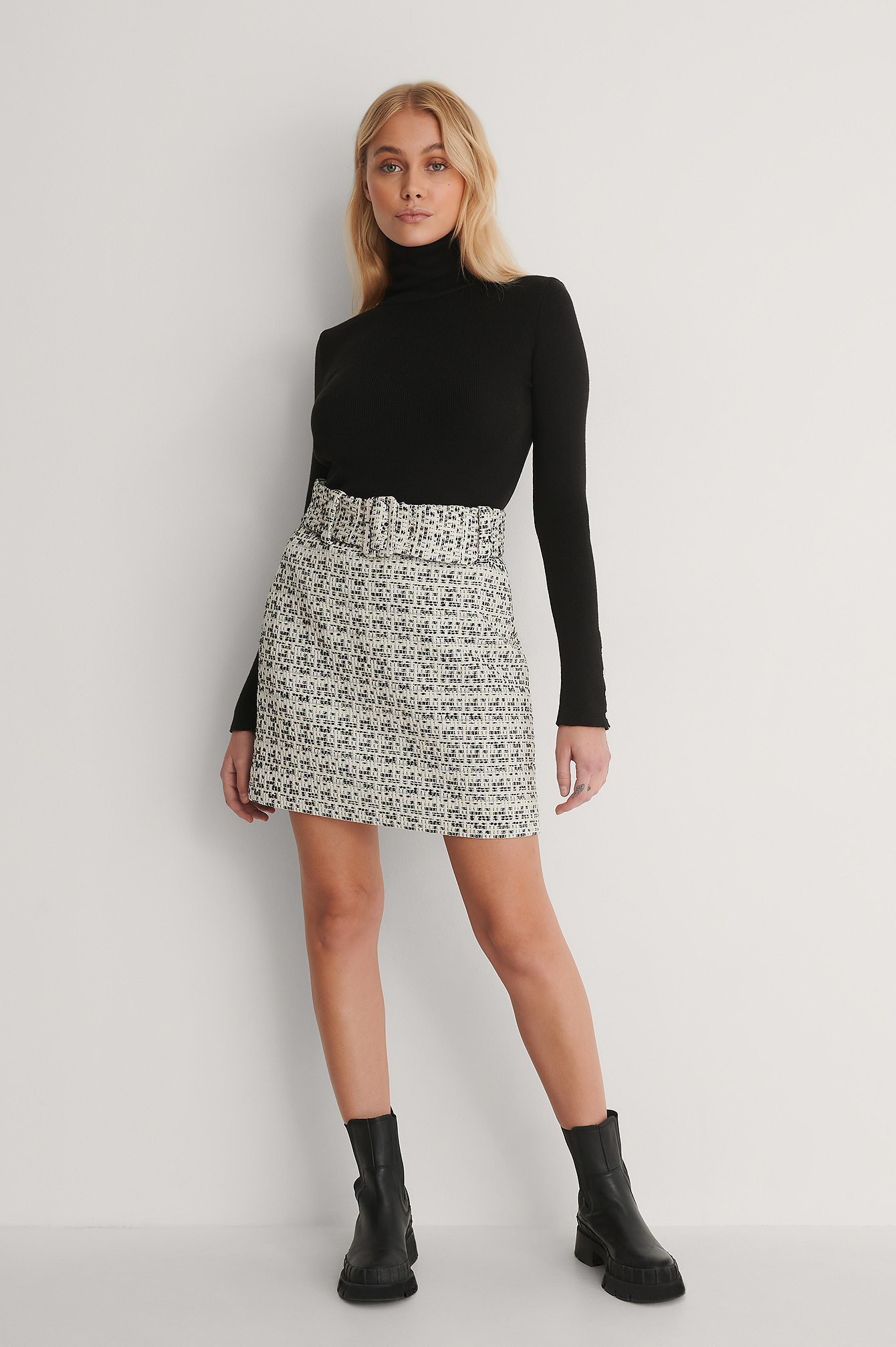 Black/White Belted Tweed Mini Skirt