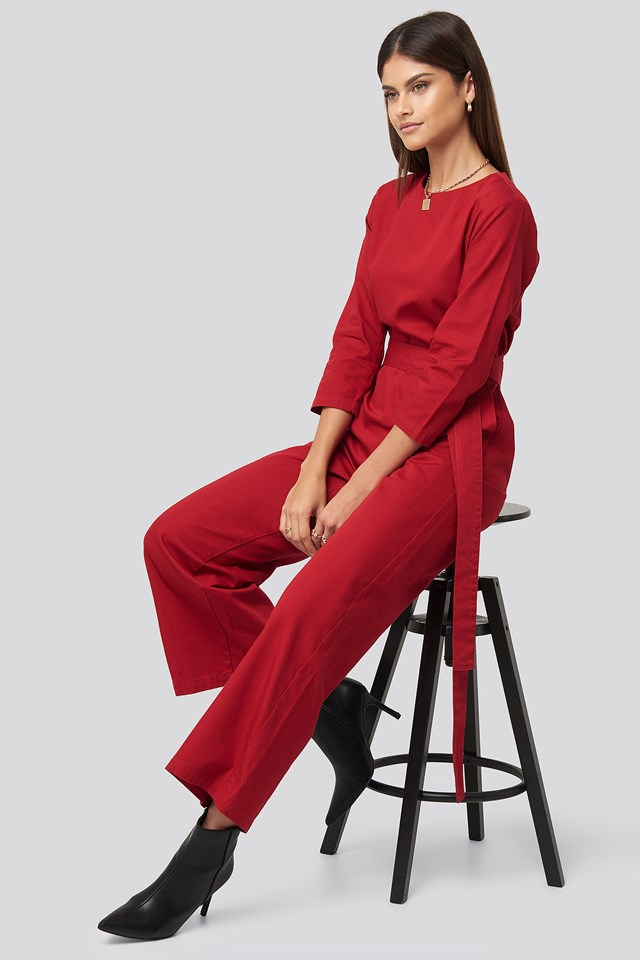 Belted Waist Detail Jumpsuit Red