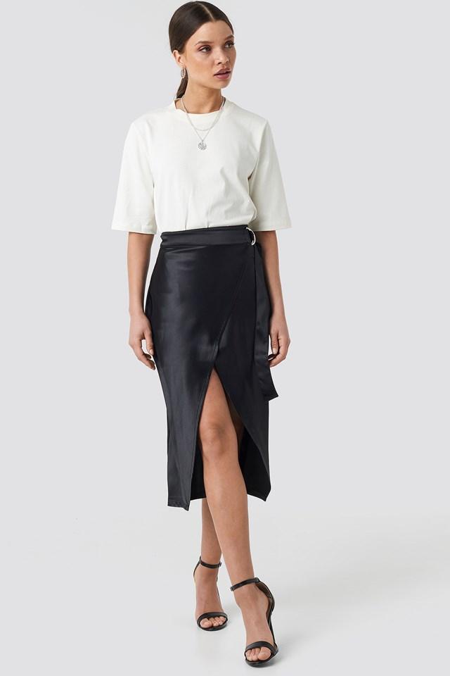 Belted Wrap Midi Skirt Black