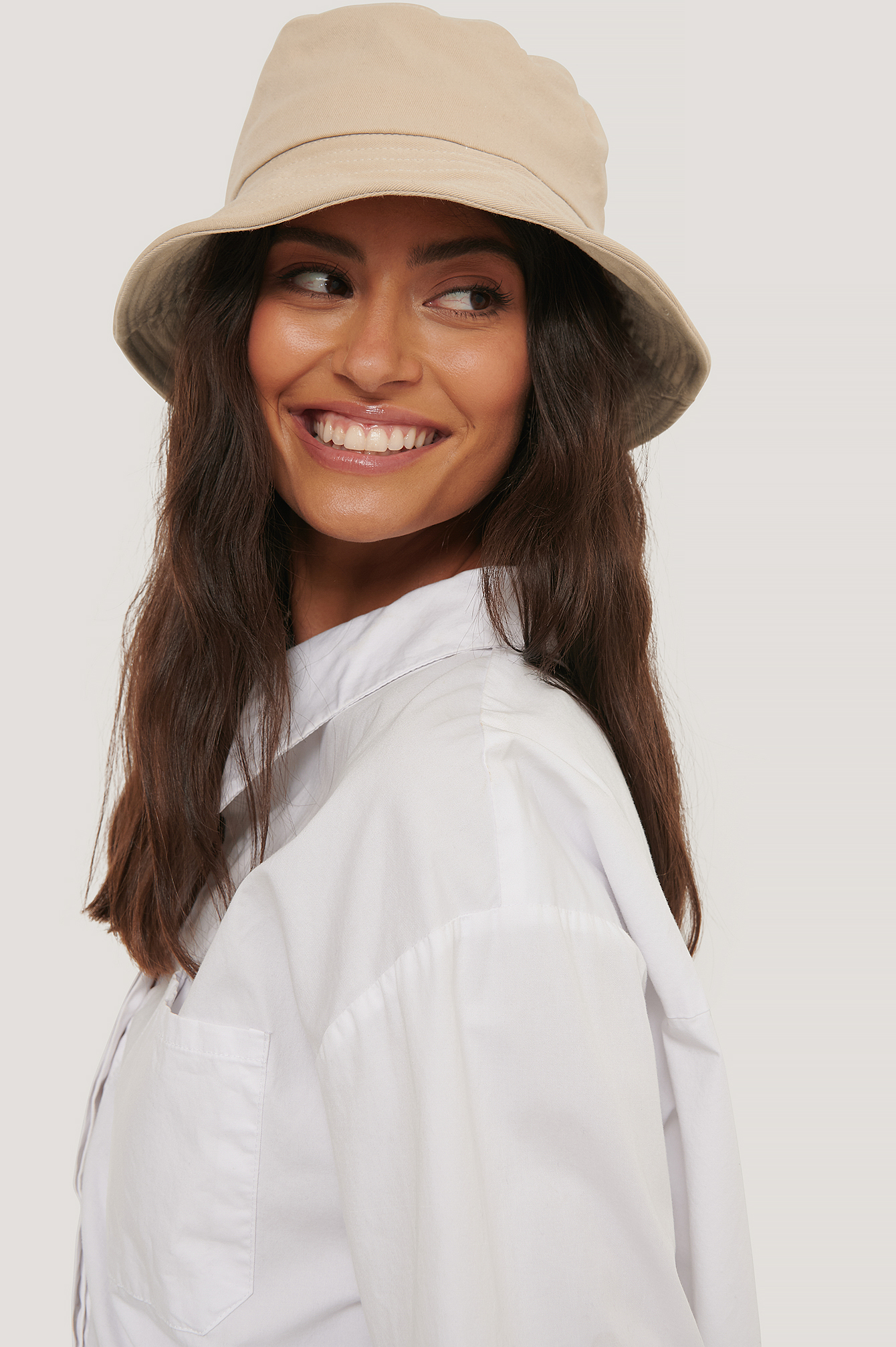 Beige Bendable Edge Bucket Hat