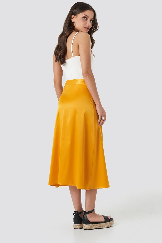 Bias Cut Satin Midi Skirt Yellow